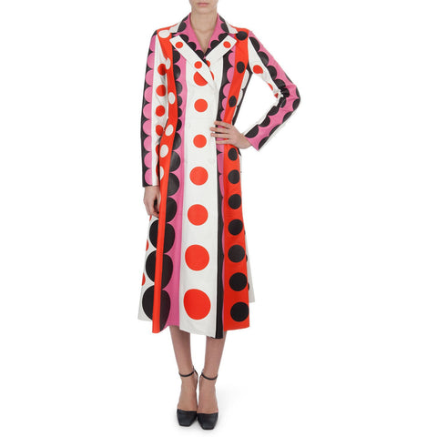Valentino Carmen Striped Polka-Dot Leather Trench Coat $16500 NWT Sz 4 Sold Out