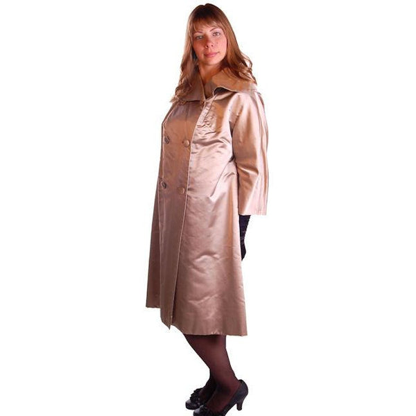 Silk Satin Vintage Dbl Brstd A Line Evening Coat Dynasty 1950S Taupe Med - The Best Vintage Clothing  - 3