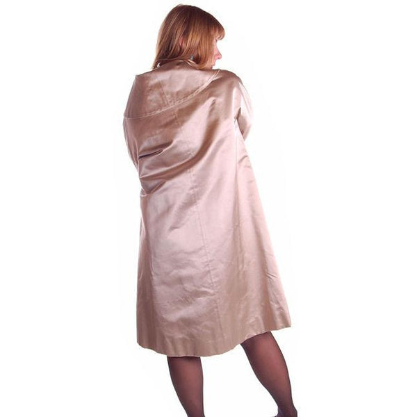 Silk Satin Vintage Dbl Brstd A Line Evening Coat Dynasty 1950S Taupe Med - The Best Vintage Clothing  - 4