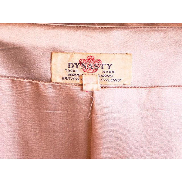 Silk Satin Vintage Dbl Brstd A Line Evening Coat Dynasty 1950S Taupe Med - The Best Vintage Clothing  - 5