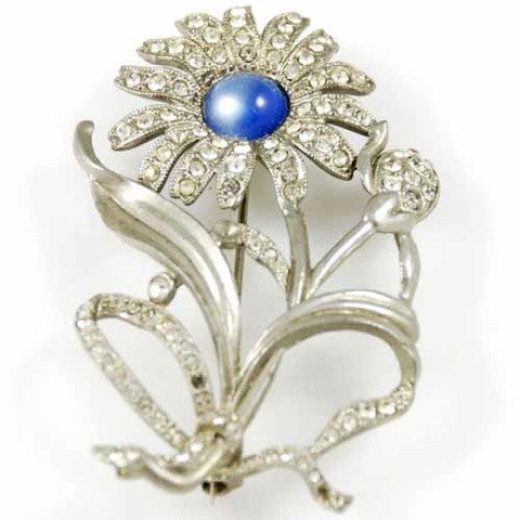 Vintage Silvertone Daisy Brooch Blue Cabochon Center 1930'S - The Best Vintage Clothing  - 3