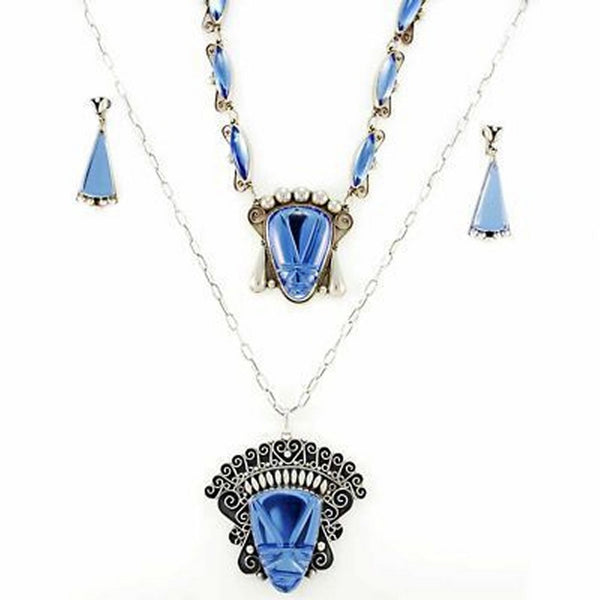 Stunning Vintage Sterling & Cobalt Taxco Signed Necklace 4 Pc Set 1940S Huge Heads - The Best Vintage Clothing  - 5