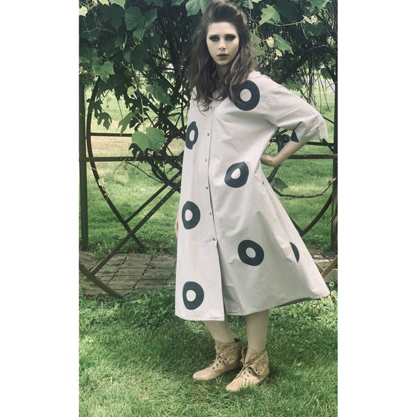 Vintage Vuokko Beige( Need pattern)Gray Circles Print Coat Dress Sz S