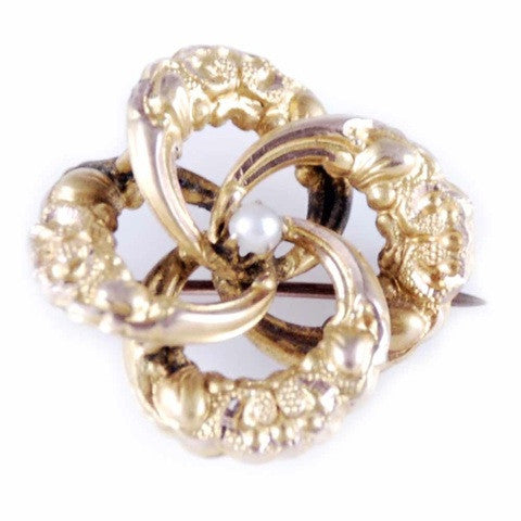 Victorian Natural Pearl/Gold Engraved Swirl Pin - The Best Vintage Clothing  - 2