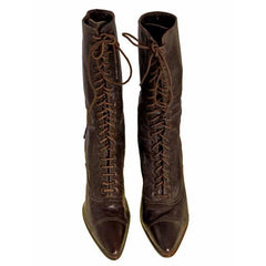 Victorian Ladies Julia Marlowe Boots w/Louis Spool Heels Brown 1900 Size 6  NWOT - The Best Vintage Clothing  - 3