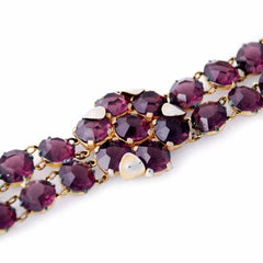 Vintage Amethyst Glass/Brass Bracelet/Brooch 1940S Revival - The Best Vintage Clothing  - 4