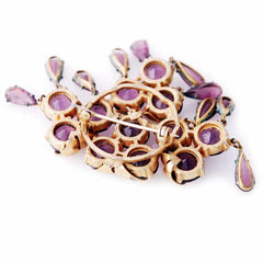 Vintage Amethyst Glass/Brass Bracelet/Brooch 1940S Revival - The Best Vintage Clothing  - 6