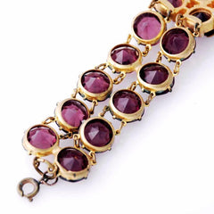 Vintage Amethyst Glass/Brass Bracelet/Brooch 1940S Revival - The Best Vintage Clothing  - 5