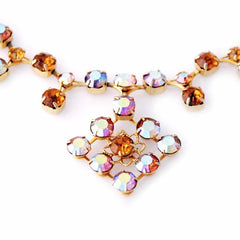 Vintage Amber Aurora Borealis  Necklace/Ears 1950S - The Best Vintage Clothing  - 2