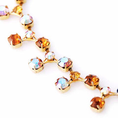 Vintage Amber Aurora Borealis  Necklace/Ears 1950S - The Best Vintage Clothing  - 1