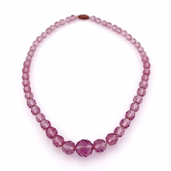"Vintage Amethyst Crystal Necklace 17"" Graduated 1940S - The Best Vintage Clothing  - 2"