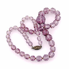 "Vintage Amethyst Crystal Necklace 17"" Graduated 1940S - The Best Vintage Clothing  - 3"