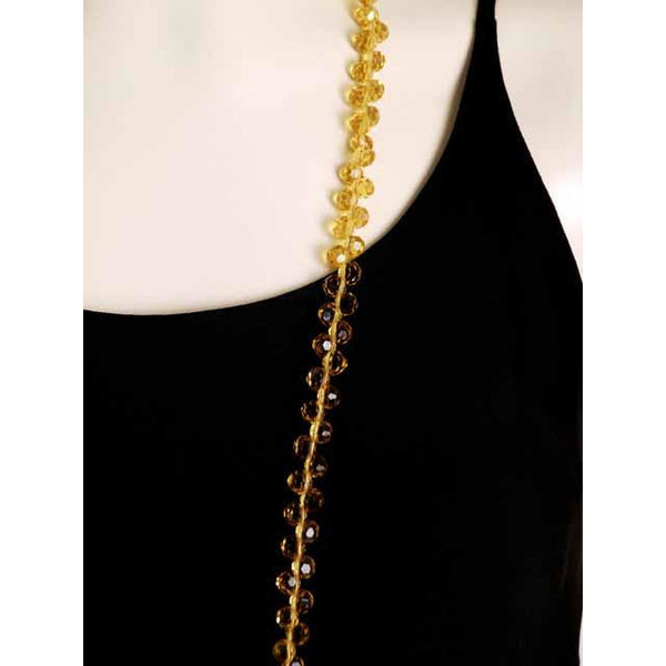 "Vintage Yellow Amber Crystals Necklace 46"" Extra Sparkly Downton Abbey Era - The Best Vintage Clothing  - 3"