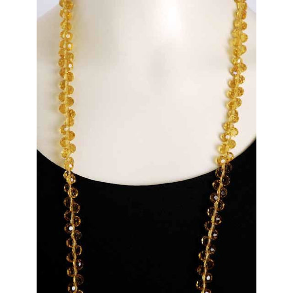 "Vintage Yellow Amber Crystals Necklace 46"" Extra Sparkly Downton Abbey Era - The Best Vintage Clothing  - 4"