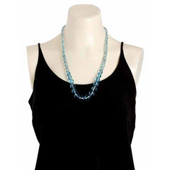 "Vintage Aqua Crystal Necklace 22"" Graduated 1940S - The Best Vintage Clothing  - 3"