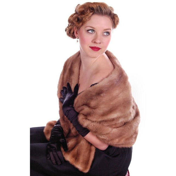 Vintage Mink Stole Autumn Haze Mink  Shawl Collar 1950S - The Best Vintage Clothing  - 1
