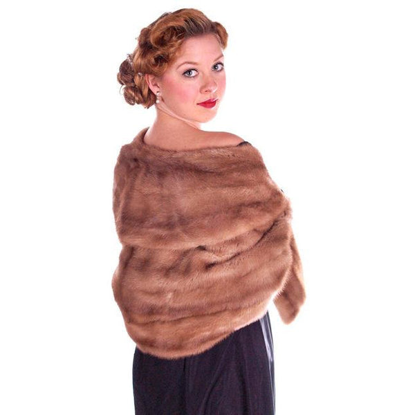 Vintage Mink Stole Autumn Haze Mink  Shawl Collar 1950S - The Best Vintage Clothing  - 2