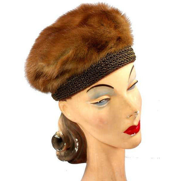Vintage Autumn Haze Mink Hat Fab Soutache 1950S Robinsons - The Best Vintage Clothing  - 1