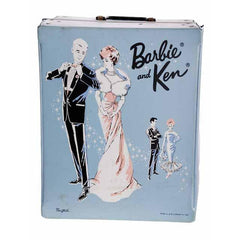 Vintage Barbie & Ken Trunk Case 1960s Ponytail Blue Vinyl - The Best Vintage Clothing  - 3