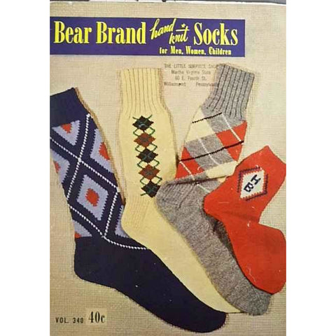 Vintage Bear Brand Knitting Book Argyle Socks 1950 39 Pages of The Coolest Socks!