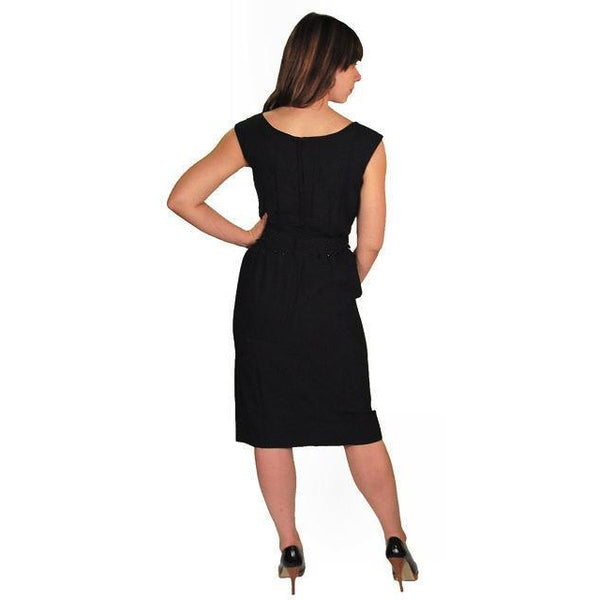 "Vintage Black Silk Chiffon ""Hobble"" Dress 1950'S - The Best Vintage Clothing  - 3"