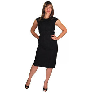 "Vintage Black Silk Chiffon ""Hobble"" Dress 1950'S - The Best Vintage Clothing  - 1"