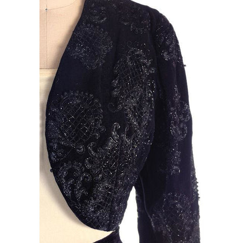 "Vintage Bolero Black Velvet Heavily Beaded Soutache  1950S 38""B Provenance"