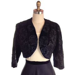 "Vintage Bolero Black Velvet Heavily Beaded Soutache  1950S 38""B Provenance - The Best Vintage Clothing  - 2"