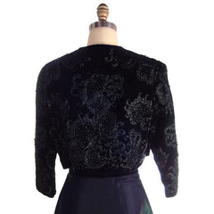 "Vintage Bolero Black Velvet Heavily Beaded Soutache  1950S 38""B Provenance - The Best Vintage Clothing  - 3"