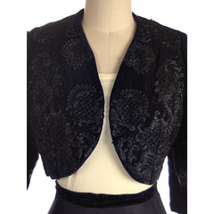 "Vintage Bolero Black Velvet Heavily Beaded Soutache  1950S 38""B Provenance - The Best Vintage Clothing  - 4"