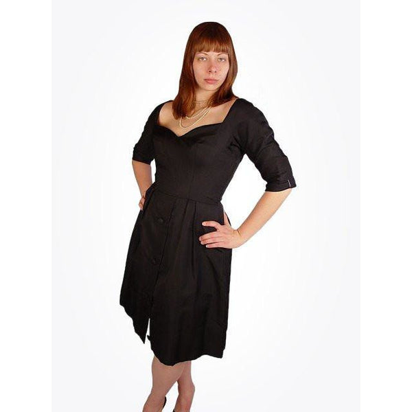 Vintage Suzy Perette Black Silk Cocktail Dress 1950S Bombshell 38-27-Free - The Best Vintage Clothing  - 1