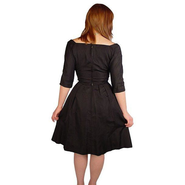 Vintage Suzy Perette Black Silk Cocktail Dress 1950S Bombshell 38-27-Free - The Best Vintage Clothing  - 2