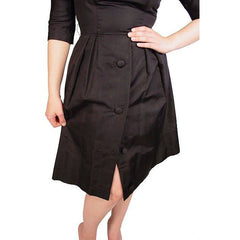 Vintage Suzy Perette Black Silk Cocktail Dress 1950S Bombshell 38-27-Free - The Best Vintage Clothing  - 3
