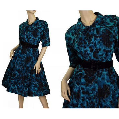 Vintage Cocktail Dress Black & Turquoise Brocade Beaded  1950'S Peer 36-26-Free S - The Best Vintage Clothing  - 1