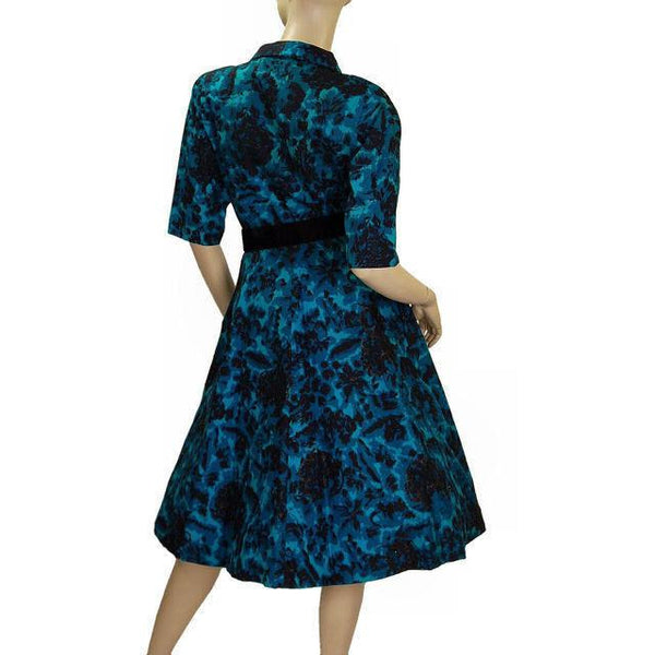 Vintage Cocktail Dress Black & Turquoise Brocade Beaded  1950'S Peer 36-26-Free S - The Best Vintage Clothing  - 4