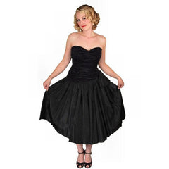 Vintage Black Strapless Cocktail Dress ShirredRayon & Taffeta 1950'S 34-26-Free - The Best Vintage Clothing  - 2