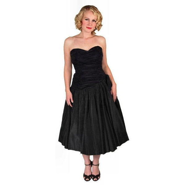 Vintage Black Strapless Cocktail Dress ShirredRayon & Taffeta 1950'S 34-26-Free - The Best Vintage Clothing  - 3
