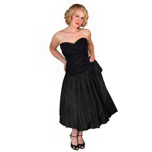Vintage Black Strapless Cocktail Dress ShirredRayon & Taffeta 1950'S 34-26-Free - The Best Vintage Clothing  - 4