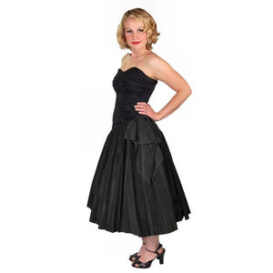 Vintage Black Strapless Cocktail Dress ShirredRayon & Taffeta 1950'S 34-26-Free - The Best Vintage Clothing  - 1