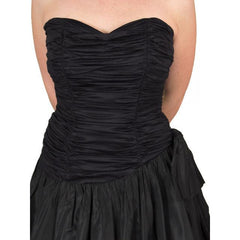 Vintage Black Strapless Cocktail Dress ShirredRayon & Taffeta 1950'S 34-26-Free - The Best Vintage Clothing  - 7