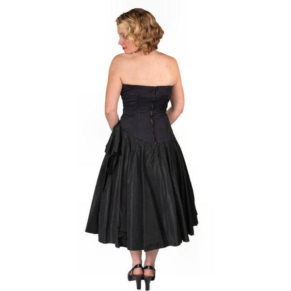 Vintage Black Strapless Cocktail Dress ShirredRayon & Taffeta 1950'S 34-26-Free - The Best Vintage Clothing  - 5