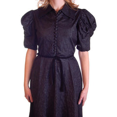 Vintage Black Moiré Dress Huge Sleeves Late  1930S 36-28-FREE - The Best Vintage Clothing  - 5