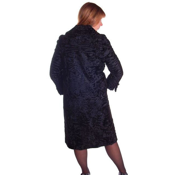 Vintage Black Broadtail Lamb Fur Coat George Bernard 1970S Med - The Best Vintage Clothing  - 2
