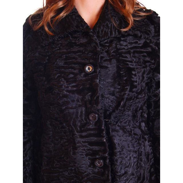 Vintage Black Broadtail Lamb Fur Coat George Bernard 1970S Med - The Best Vintage Clothing  - 3