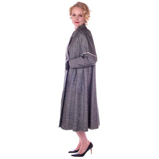Vintage Ladies  Black & White Tweed Linen Swing Coat 1950S M-L 6-14 - The Best Vintage Clothing  - 1
