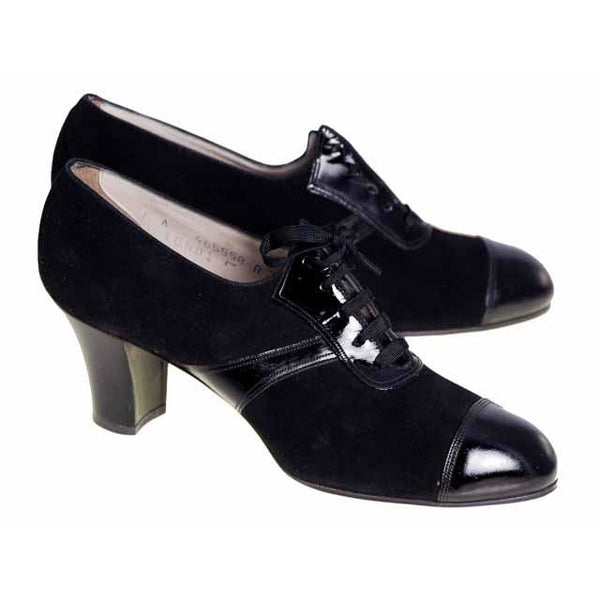 Vintage Ladies Black Suede/Patent Cap Toe Oxford Shoes 1920S Walk Over NIB Size 6A - The Best Vintage Clothing  - 2