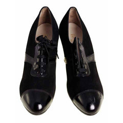 Vintage Ladies Black Suede/Patent Cap Toe Oxford Shoes 1920S Walk Over NIB Size 6A - The Best Vintage Clothing  - 4
