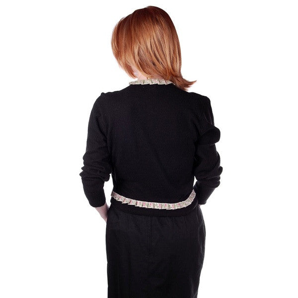Vintage Cashmere Sweater Black  w/Embroidered Ribbon Trim 1950S - The Best Vintage Clothing  - 6