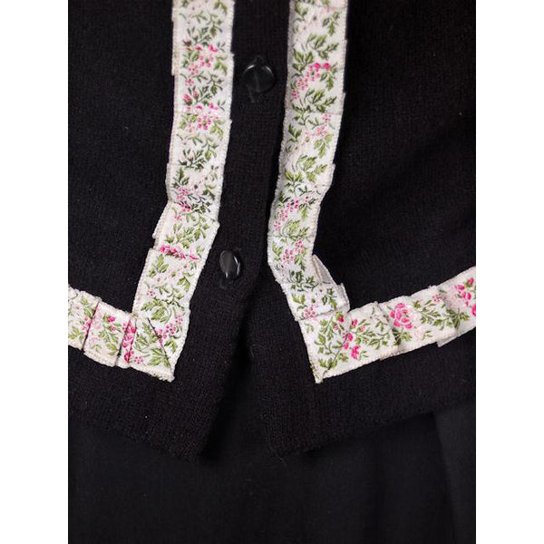 Vintage Cashmere Sweater Black  w/Embroidered Ribbon Trim 1950S - The Best Vintage Clothing  - 2