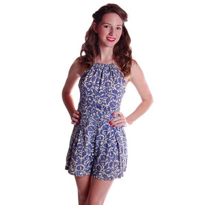 Vintage Swimsuit Blue Printed Cotton Playsuit Ladies 1930S - The Best Vintage Clothing  - 1